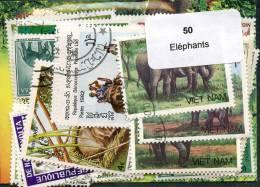 Lot 50 Timbres Thème Eléphants - Vrac (max 999 Timbres)
