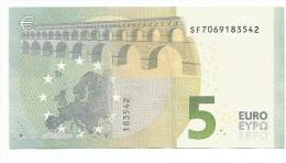 CON TUTTI I NUMERI  BANCONOTA DA 5 EURO SF  ITALIA  S006.. FDS UNC DRAGHI RARA - 5 Euro