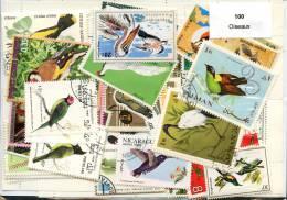 Lot 100 Timbres Thème Oiseaux - Alla Rinfusa (max 999 Francobolli)
