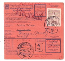 1938/39 Money Order From Moravska Ostrava To Cieszyn In Poland - Storia Postale