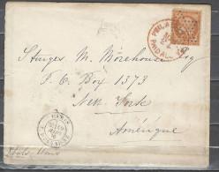 France Etats Unis - Lettre Transatlantique  Paris à New York - 1876 - 1849-1876: Période Classique