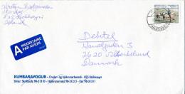 Mi 879 Solo Cover Mailman Postman Horse - 27 May 1999 Stokkseyri To Denmark - 1944-... Republique