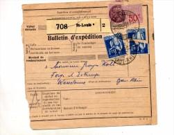 Bulletin D'expedition Saint Louis A Cachet Saint Louis Sur Fiscal Semeuse Mont Saint Michem Type Lettre A - Postmark Collection (Covers)