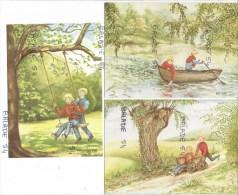 3 CPM - H. SCHABLITZKY - Deux Enfants Sur Balancoire, Barque, Et Charette - Illustrators & Photographers