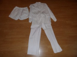 Uniforme,tenue De Sortie Blanche,veste,pantalon,short D'un Soldat En Indochine,algérie. - Uniformes