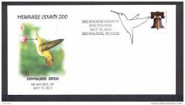 UNITED STATES OF AMERICA 2012. SPECIAL POSTMARK. MILWAUKEE COUNTY ZOO. HUMMINGBIRD. (Trochilinae) COLIBRI. - Hummingbirds