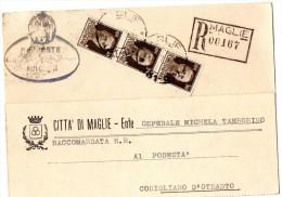 LECCE-MAGLIE-RACCOMANDATA-AL PODESTA' DI CORIGLIANO D'OTRANTO-1943 - Italie