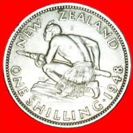 + MAORI WARRIOR: NEW ZEALAND ★ SHILLING 1948! LOW START ★ NO RESERVE! George VI (1937-1952) - Nouvelle-Zélande
