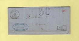 Riscle - 31 - Gers - 1 Juil 1862 - OR En Rouge - Courrier De St Mont - Marcophilie (Lettres)
