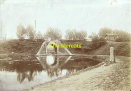 ANCIENNE PHOTO ALBUMINE EPREUVE POUR CPA HAL HALLE LES ENVIRONS PONT SUR LE CANAL - Halle
