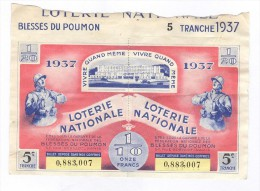 Billet Loterie Nationale -1937- Blessés Du Poumon - 5ème Tranche - Billets De Loterie