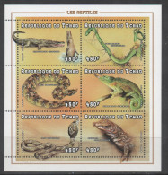 CHAD,1998, MNH, REPTILES, SNAKES, CROCODILES, CHAMELEON, SHEETLET - Slangen