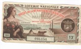 Billet Loterie Nationale -1941 - Billet De La Renaissance Française - 13ème Tranche - Billets De Loterie
