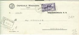 ITALIA LAVORO £. 50  (S 647) ISOLATO IN TARIFFA RACCOMANDATA APERTA SU B.P , VIAGGIATA  1951-TIMBRO POSTE LODI-LIVRAGA, - 6. 1946-.. Repubblica
