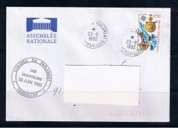Congrès Du Parlement, Versailles, 23/06/1992, Poste Restante Au Verso, 2 Scan - 1961-....