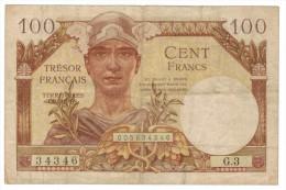 France 100 Fr, TRESOR,  P-M9,  Used, FREE SHIP TO USA. - Treasury
