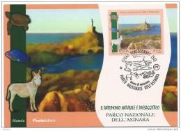 Italia, Italy 2015 ; Asino, Donkey,caratteristico Del Parco Dell' Asinara: F.D.C. E Anche Max. Card Con Annullo Speciale - Asini