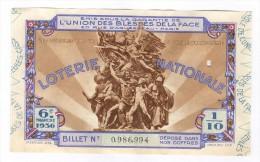 Billet Loterie Nationale -1936 - Union Des Bléssés De La Face - 6ème Tranche - Billets De Loterie
