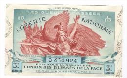 Billet Loterie Nationale -1937 - Les Gueules Cassées - 3ème Tranche - Billets De Loterie