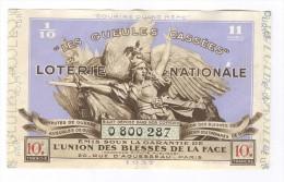 Billet Loterie Nationale -1937 - Les Gueules Cassées - 10ème Tranche - Billets De Loterie