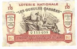 Billet Loterie Nationale -1939 - Les Gueules Cassées - 16ème Tranche - Billets De Loterie