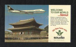 Saudi Arabia Airlines Airplane Picture Postcard Seoul View Card - Korea, North