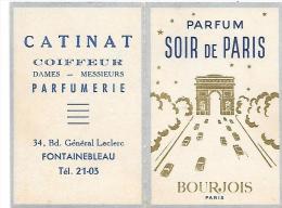 PARFUM SOIR DE PARIS - BOURJOIS Paris - Format Carte Fernée 5.8 X 8.7 Cm - Calendrier Année 1962 - CATINAT Fontainebleau - Pubblicitari