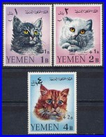 YEMEN KINGDOM 1967 CATS WITH JORDAN RELIEF OVERPRINT MI 338-340 VF MNH - Domestic Cats