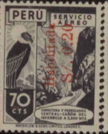 E) 1937, PERU, CONDOR, AIRMAL, OVERPRINT ENABLED, 15CTS, BLACK - Peru
