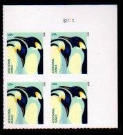 USA 2015, Scott #4989, Penguins, Additional Ounce (22c), Plate Block, UR, MNH, VF