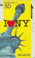 Télécarte Ancienne Japon / 330-5598 - USA - NEW YORK / Statue De La Liberté - US Rel Japan Front Bar Phonecard / A - Japan