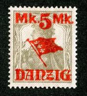 5261 Y Danzig 1920  Michel # 30 II* Signed  ( Cat. €30. ) - Danzig