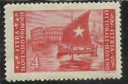 ISTRIA E LITORALE SLOVENO 1946 LIRE 4 TIRATURA DI ZAGABRIA MNH - Yugoslavian Occ.: Slovenian Shore