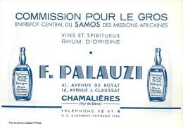 """VINS & SPIRITUEUX """"SAMOS"""" - RHUM -""""PALNIGRA"""" -  F. PALAUZI à CHAMALIERES (PUY-DE-DÔME) CARTE COMMERCIALE ANCIENNE 9x13cm - Alcohols"""
