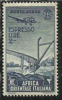 AFRICA ORIENTALE ITALIANA AOI 1938 SOGGETTI VARI AEREA ESPRESSI SPECIAL DELIVERY ESPRESSO LIRE 2 MNH - Africa Orientale Italiana
