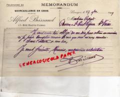 87 - LIMOGES - MEMORANDUM ALFRED BRISSAUD-QUINCAILLERIE 17 RUE HAUTE VIENNE -1909-M. PEYRAT ST PRIEST LIGOURE - France