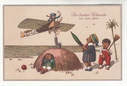 AK Kinder, Flugzeug, Humor, Die Besten Wünsche Zum Neuen Jahr. Feldpost, Stuttgart, 1914 - Cartes Humoristiques
