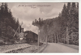 AK Bahnlinie Wilzschhaus - Carlsfeld, Erzgebirge, Mit Zug, Bahnpost-Stempel Chemnitz-Aue-Adorf, 1924 - Deutschland