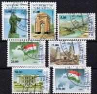 Denkmal Unabhängigkeit 1993 Tadschikistan 15/21 O 6€ Moschee Natur Oper Duschanbe Festung Flagge Map Stamps Flags Of GUS - Tadjikistan