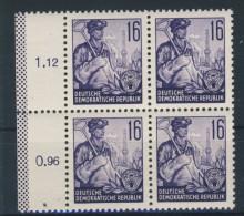 DDR Nr. 369 X II ** postfrisch Viererblock