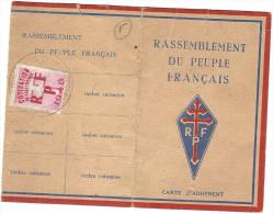 BALDET Antoine Carte Membre Rassemblement Du Peuple Français RPF Boissy St Léger Villiers Croix De Lorraine France Libre - Cartes