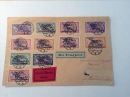 "Memel Poste Aérienne ""FLUGPOST"" 11 Valeurs Oblit 1922 Lettre Expres > Berlin. Cert. RPS (Memelgebiet Brief) - Memel (1920-1924)"