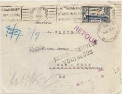 BAT-L25 - FRANCE Lettre Exp. Par Le Voyage Inaugural Du Paquebot Normandie Pour New York 1935 - Covers & Documents