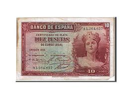 Espagne, 10 Pesetas Type 1935 - [ 2] 1931-1936 : République