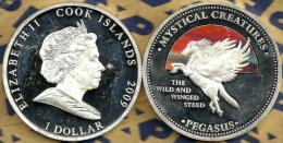 COOK ISLANDS $1 PEGASUS HORSE GREECE MYTHS  FRONT QEII HEAD BACK 2009 PROOF READ DESCRIPTION CAREFULLY !!! - Cook