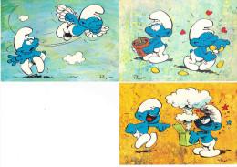 LOT 3 CP SCHTROUMPFS FARCEUR AMOUREUX VOLANT SPIROU PEYO 10-7 10-8 10-12 ANNEES 1970 - Stripverhalen