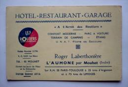 Carte De Visite Publicitaire - LES ROUTIERS  - ROGER LABERTHONIERE - L'AUMONE Par  MOUHET ( INDRE) - Tarjetas De Visita