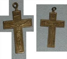 """Rare Croix En Laiton """"MISSION"""", Jésus Christ, Pendentif, Religion, INRI, INS Outils Marteau échelle Tenailles Coq - Religión & Esoterismo"""