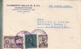 VENEZUELA 194? - 1 + 7,5 + 20 Centimos Frankierung Auf LP-Brief Gel.Caracas - Lauterbach - Venezuela