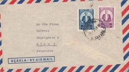 TÜRKEI 1953 - 15 + 20 K Frankierung Auf LP-Brief Gel.Ankara - Wien - 1921-... Republik